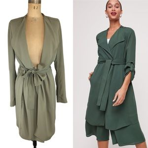 Babaton Flowy Olive/Taupe Trench Size S